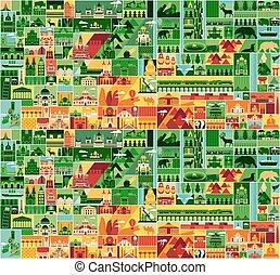 Cartoon Eurasia Pattern. - Eurasia Vector Illustration with...
