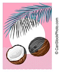 Poster with coconuts. Tropical abstract background in retro style