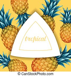 Card with pineapples. Tropical abstract frame in retro style