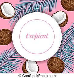 Card with coconuts. Tropical abstract frame in retro style