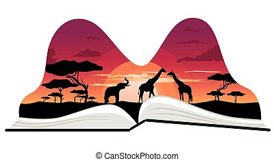 Pop-up book with africa savanna scenery on white background
