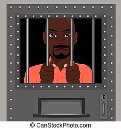african american man looking from behind bars - african...