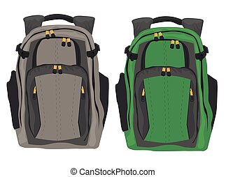 Two modern backpacks standing on white background - Two...