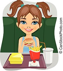 young cute girl eating burger with french fries and coke in...
