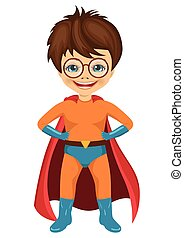 little boy with glasses dressed in a superhero costume