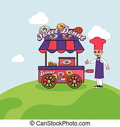 food cart vendor cartoon theme vector art illustration
