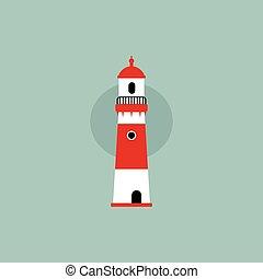 beach lighthouse flat illustration - beach lighthouse...