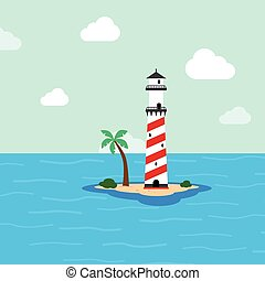 beach lighthouse seashore view vector art illustration