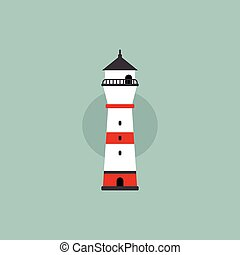 beach lighthouse flat illustration - beach lighthouse...