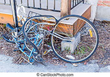 Crushed wreckage of a bike