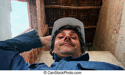 happy construction worker - smiling Construction worker...