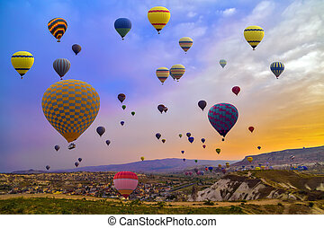 Hot Air Balloon In The Mountain - Hot Air balloons flying...