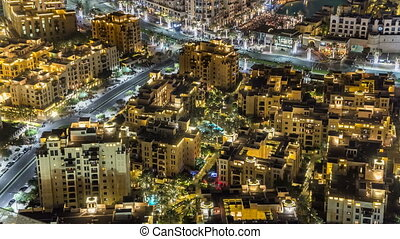 Top view of the central area of the city timelapse Dubai...