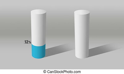 white cylinder indicate 90 and 10 - Growing 3D Cylinder...