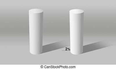 white cylinder indicate 10 and100 - Growing 3D Cylinder...