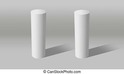 white cylinder indicate 10 and 10 - Growing 3D Cylinder...
