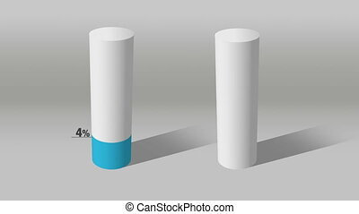white cylinder indicate 70 and 10 - Growing 3D Cylinder...