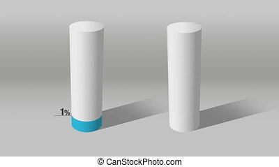 white cylinder indicate 40% and 10% - Growing 3D Cylinder...