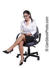 notas, escritório, Levando, cadeira, secretária, sentado