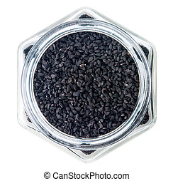 Nigella or Black cumin over white background - Nigella or...