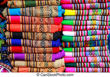 Display of traditional textile at the market in Lima, Peru