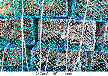 Stacked lobster cages - Fishing equipment for catching...