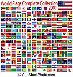 world flags collection, abstract art illustration