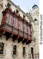 Archbishops Palace on Plaza Mayor in Lima, Peru It is the...