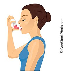 Pretty brunette using an asthma inhaler on white bakcground...