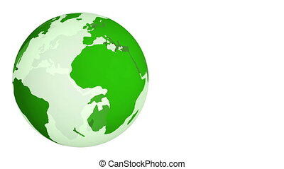 Green Planet Earth spinning isolated on white background