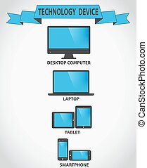 Responsive design for web- computer screen, smartphone, tablet icons