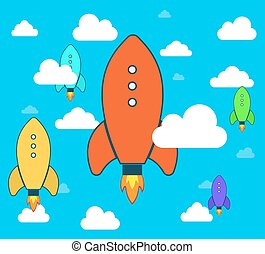 Flat rocket icon Startup Project development - Flat rocket...