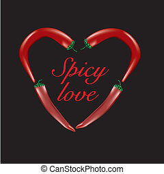 Heart-shaped chili peppers - Vector of chilli peppers...