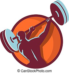 Weightlifter Swinging Barbell Rear Circle Retro -...