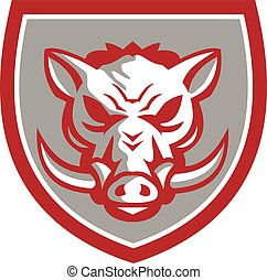 Wild Boar Razorback Head Angry Shield Retro