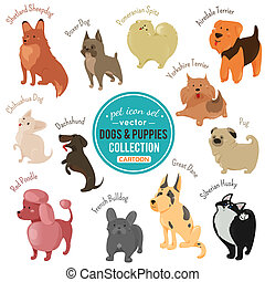 dogs and puppies depicting different fur color and breeds...