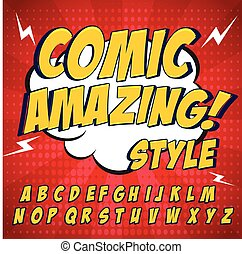 Comic retro yellow alphabet set. Letters, numbers and...