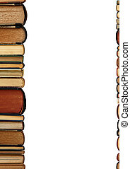 A pile old books white background - A pile of old books as a...