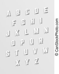 Vector 3D alphabet. White font