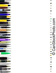 pens pencils isolated on white background - A column of...