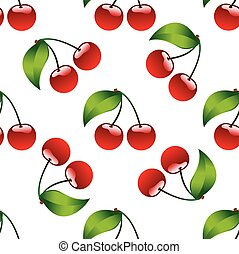 Seamless pattern background cherry red ripe berrie bio