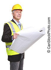 Architect with site drawings cut out - Building contractor...