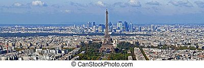 Panorama with aerial view, from Montparnasse tower, with...