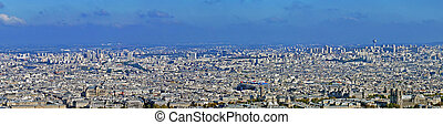 Panoramic view with Paris from Montparnasse tower Aerial...