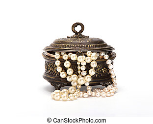 Casket with pearl beads 2 on white background