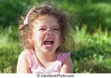 Photo of crying girl - Photo of crying baby girl outdoors...
