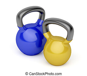 Two kettlebells - Kettlebells with different weights on...