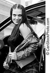 Woman in automobil - Attractive young woman in automobile