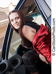 Woman in automobil