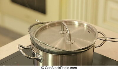 Hot steamer pan on a kitchen stove HD
